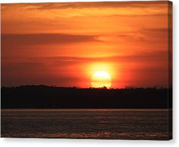 Lake Conroe Sunset Canvas Print by Ellen O'Reilly