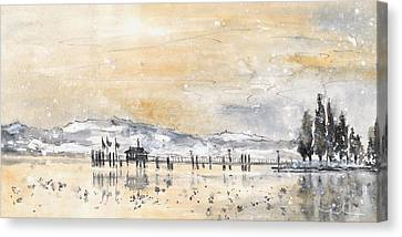 Lake Constance In Winter Canvas Print by Miki De Goodaboom