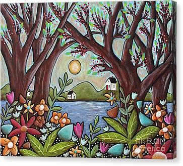 Primitive Canvas Print - Lake Cottages by Karla Gerard