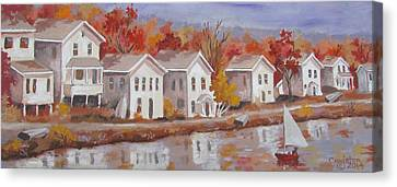 Canvas Print featuring the painting Lake Cottages by Tony Caviston