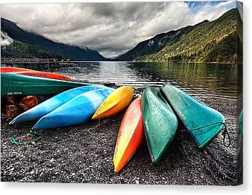 Lake Crescent Kayaks Canvas Print