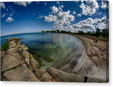 Lake Erie. Edgewater Park Canvas Print by Michael Demagall