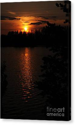 Lake Four Sunset Canvas Print by Larry Ricker