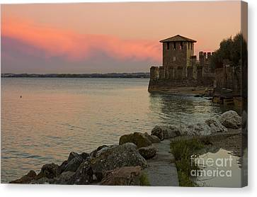 Lake Garda Sunset With The Tower Of The Scaliger Castle Canvas Print by Kiril Stanchev