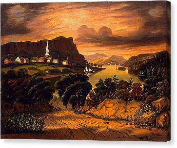 Lake George And The Village Of Caldwell Canvas Print by Thomas Chambers