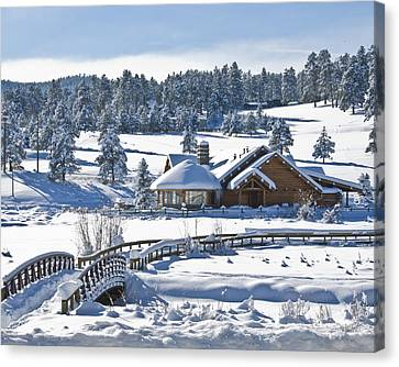 Lake House In Snow Canvas Print by Ron White