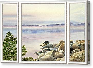 Lake House Window View Canvas Print by Irina Sztukowski
