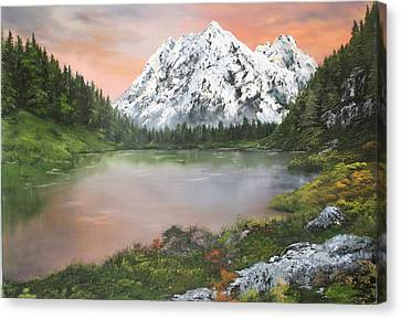 Canvas Print featuring the painting Lake In Austria by Jean Walker