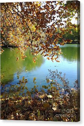 Lake In Early Fall Canvas Print by Susan Townsend