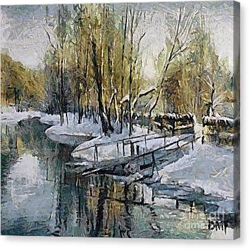 Lake In The Winter Canvas Print