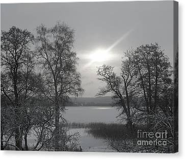 Lake In Winter Canvas Print