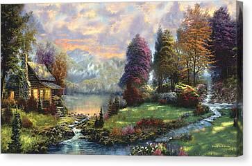 Lake Land Thomas Kinkade Look-a-like Canvas Print by Jessie J De La Portillo