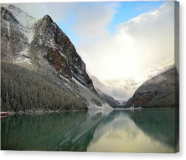 Lake Louise After The Dusting Of Snow Canvas Print