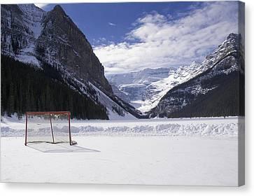 Lake Louise Hockey Net Canvas Print by Bill Cubitt