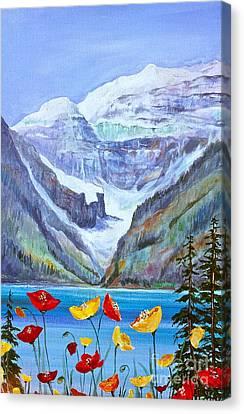 Lake Louise Poppies Canvas Print by Virginia Ann Hemingson