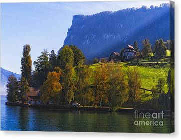 Lake Lucerne Fall Morning Canvas Print by George Oze