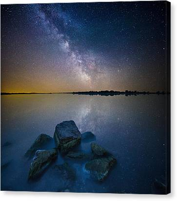 Lake Madison Milky Way Canvas Print by Aaron J Groen