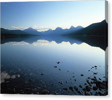 Lake Mcdonald And The Rocky Mountains Canvas Print by Panoramic Images