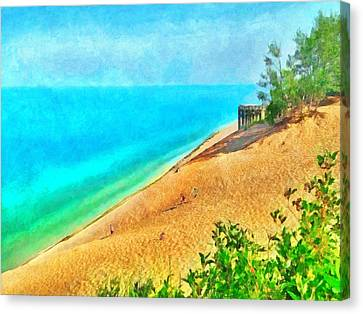 Lake Michigan Overlook On The Pierce Stocking Scenic Drive Canvas Print