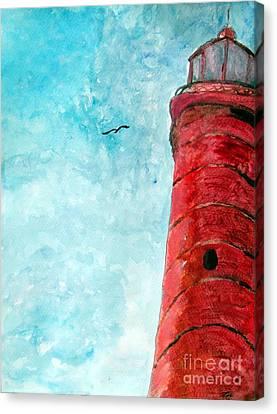 Lake Michigan Red Lighthouse Canvas Print