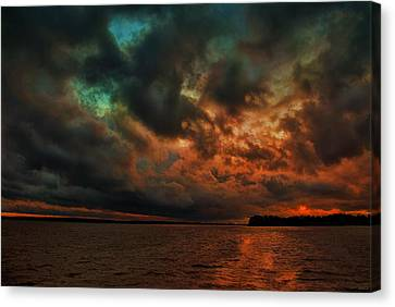 Lake Murray Fire Sky Canvas Print by Steven Richardson