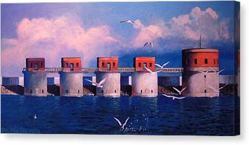Lake Murray Towers Canvas Print by Blue Sky