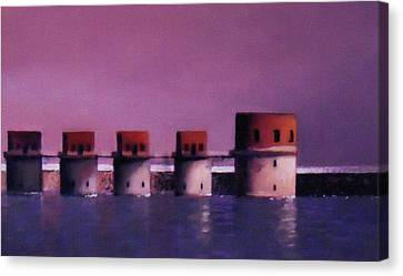 Lake Murray Towers In Evening Canvas Print by Blue Sky