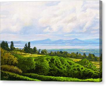 Canvas Print featuring the painting Lake Naivasha From Home by Anthony Mwangi
