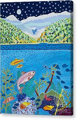 Lake Of Little Fishes Canvas Print by Virginia Ann Hemingson