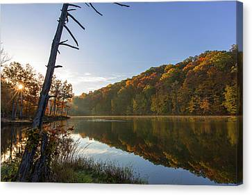 Lake Ogle In Autumn In Brown County Canvas Print by Chuck Haney