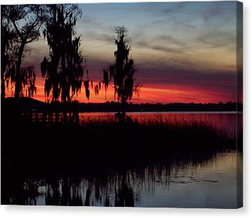Lake On Fire Canvas Print by Lew Davis