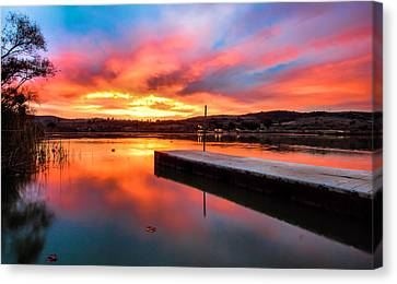 Canvas Print featuring the photograph Lake Oneil Sunset by Robert  Aycock
