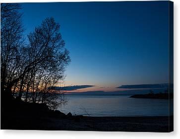 Canvas Print featuring the photograph Lake Ontario Blue Hour by Georgia Mizuleva