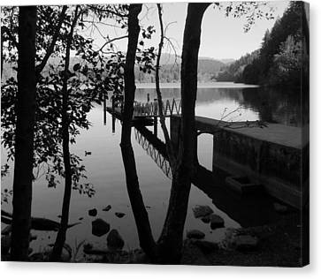 Lake Padden Reflection In Black And White Canvas Print