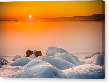 Lake Pepin Winter Sunrise Canvas Print by Mark Goodman