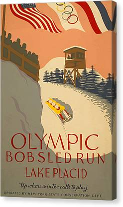 Canvas Print featuring the painting Lake Placid  Bobsled Olyimics by American Classic Art
