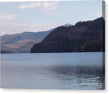 Canvas Print featuring the photograph Lake Placid Mountains by John Telfer