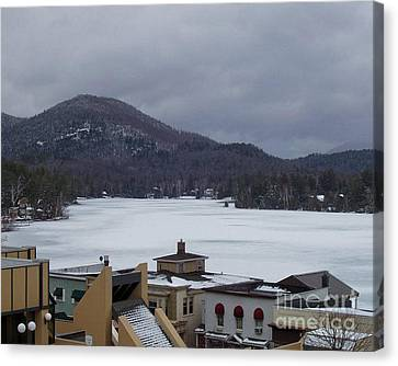 Canvas Print featuring the photograph Lake Placid Snow Storm by John Telfer