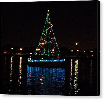 West End Boat Parade - Lights On The Lake, Lake Pontchartrain, New Orleans La Canvas Print by Deborah Lacoste