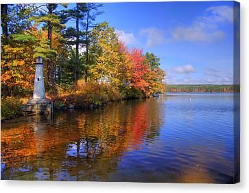 Fall Scenes Canvas Print - Lake Potanipo Lighthouse by Joann Vitali