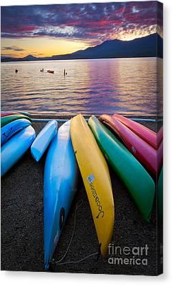Lake Quinault Kayaks Canvas Print by Inge Johnsson