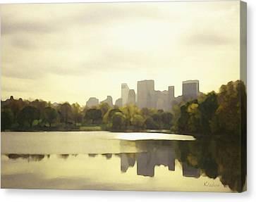 Lake Reflection Skyline 3 Canvas Print