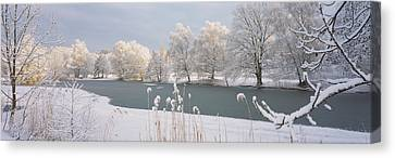 Snow-covered Landscape Canvas Print - Lake Schubelweiher Kusnacht Switzerland by Panoramic Images