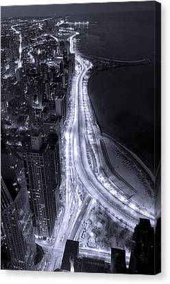 Lake Shore Drive Aerial  B And  W Canvas Print by Steve Gadomski