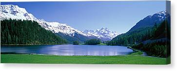 Snow-covered Landscape Canvas Print - Lake Silverplaner St Moritz Switzerland by Panoramic Images