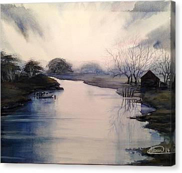 Lake Sunset Canvas Print by Alban Dizdari