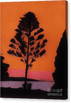Canvas Print featuring the drawing Lake Sunset by D Hackett