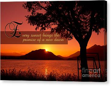 Beautiful Autumn Day Canvas Print - Lake Sunset With Promise Of A New Dawn by Beverly Claire Kaiya