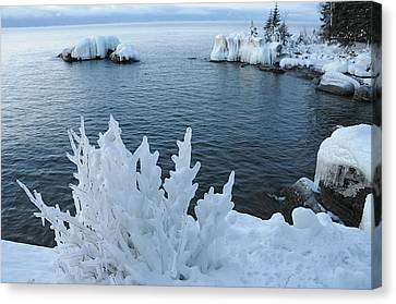 Lake Superior Blues Canvas Print by Sandra Updyke