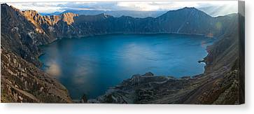 Lake Surrounded By Mountains, Quilotoa Canvas Print